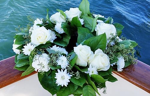 Wreath of White Roses for sea burial