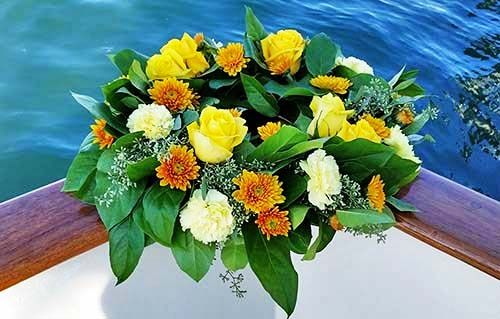 Wreath yellow roses for sea burial